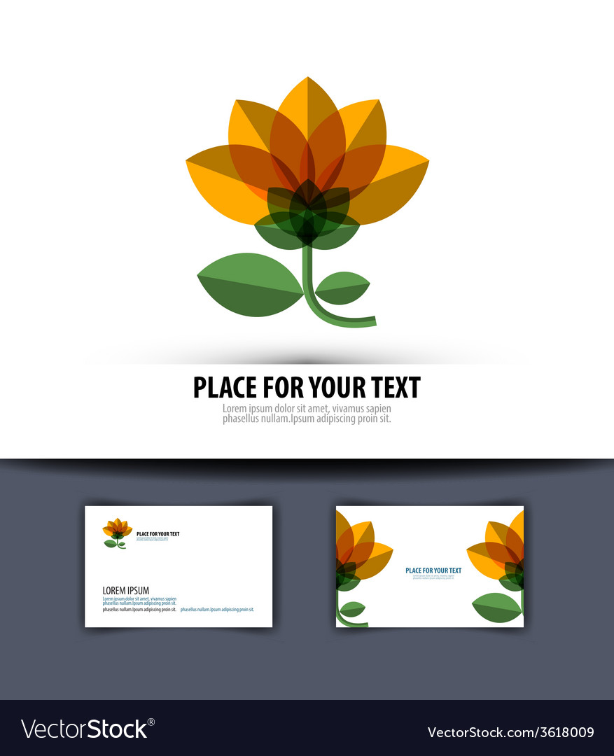 Flower logo icon emblem template business card vector | Price: 1 Credit (USD $1)
