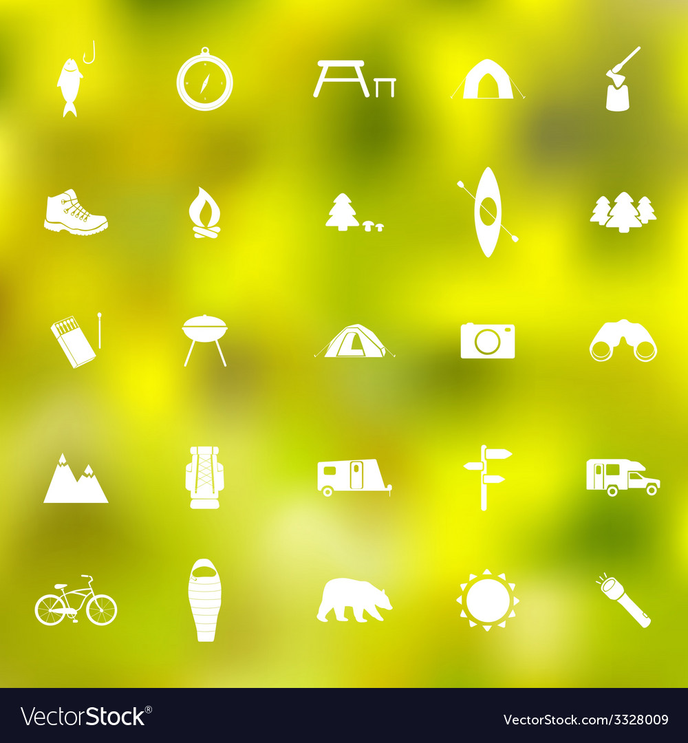 Set of camping icons vector | Price: 1 Credit (USD $1)