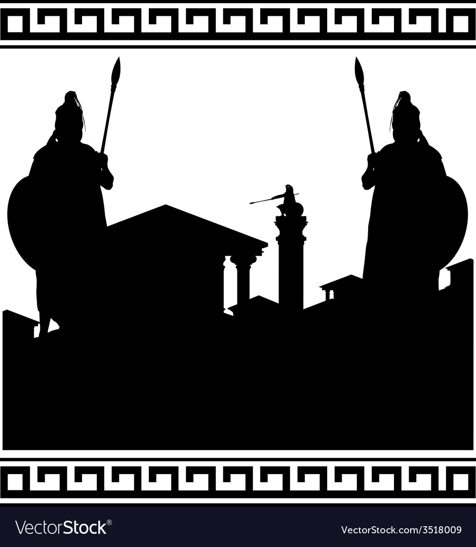 Silhouette of ancient city and guardians vector | Price: 1 Credit (USD $1)