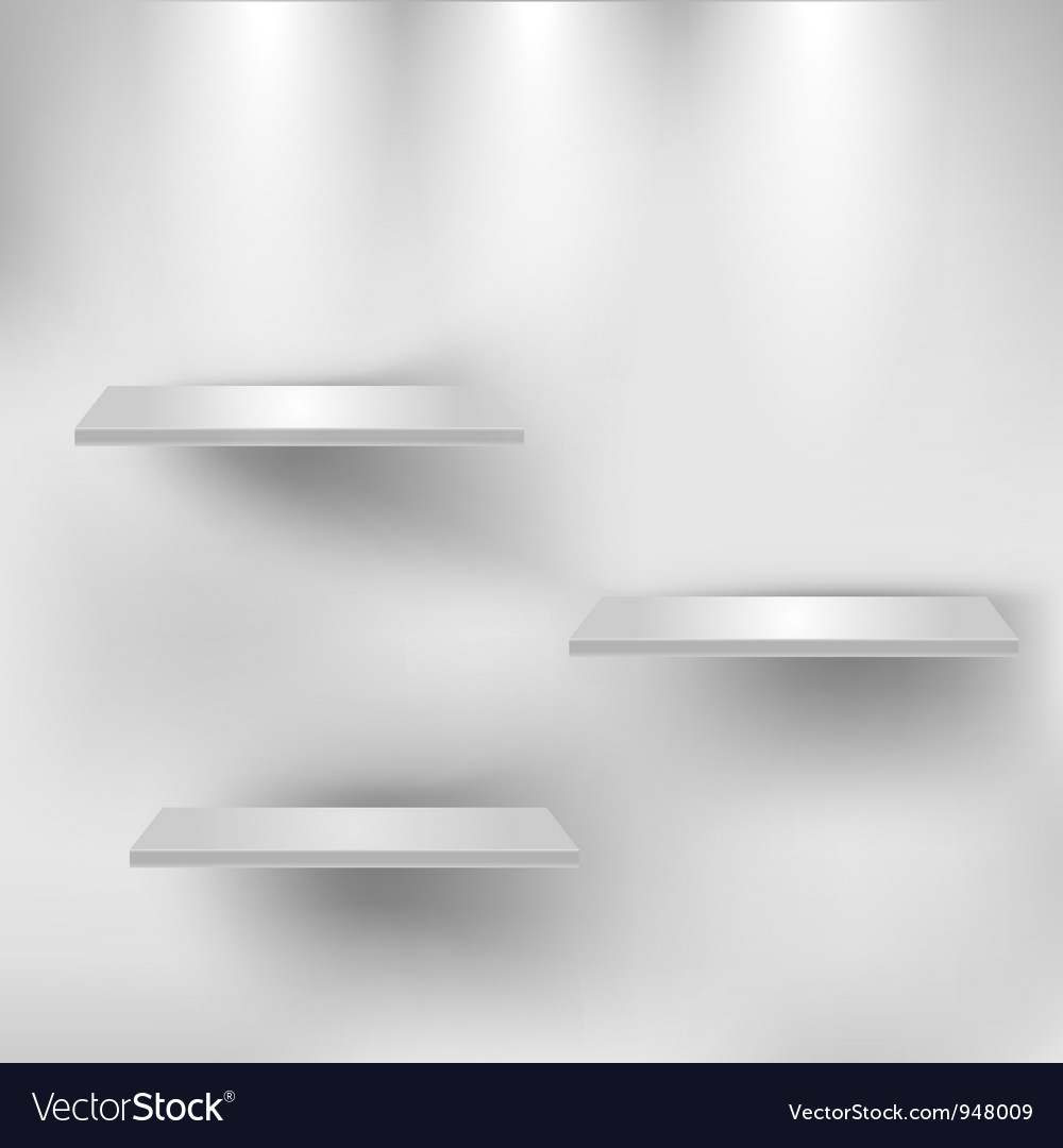 Three empty white shelves vector | Price: 1 Credit (USD $1)