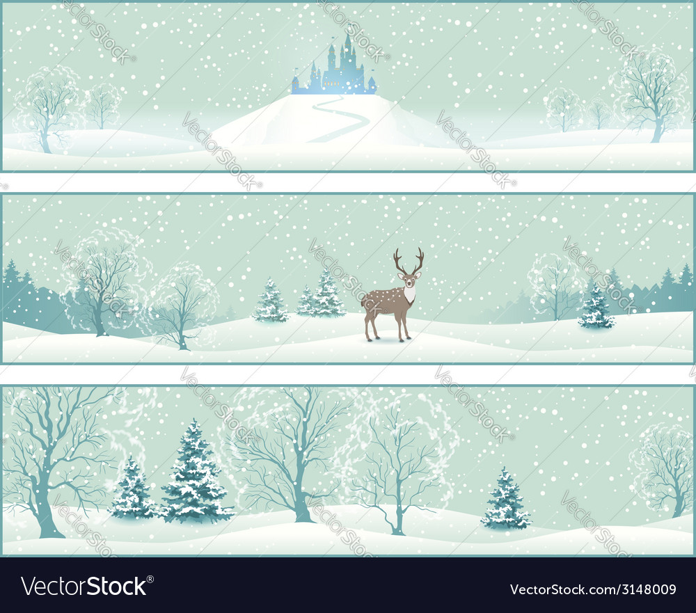 Winter landscape banners vector | Price: 1 Credit (USD $1)