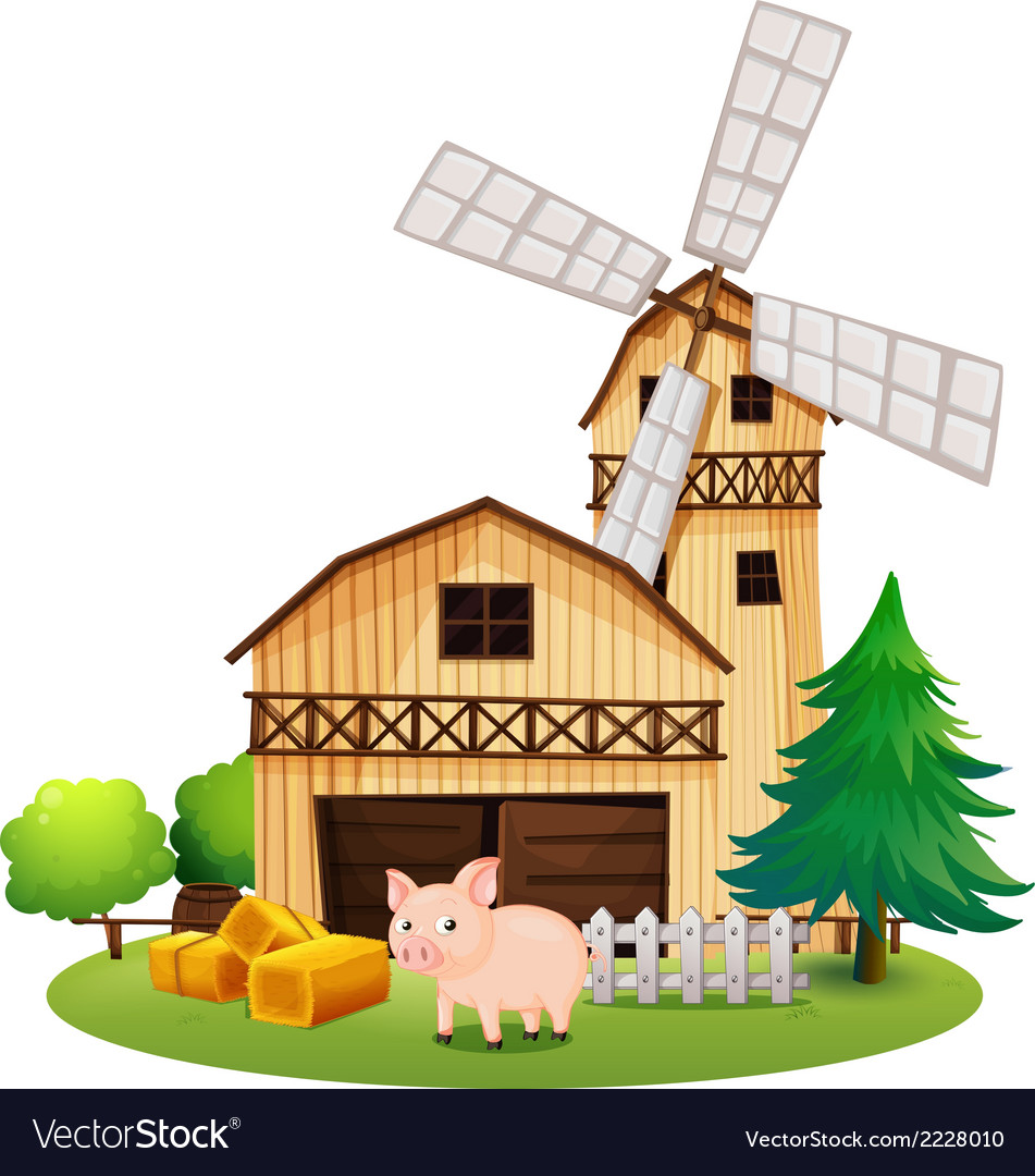 A pig in front of the farmhouse with a windmill vector | Price: 1 Credit (USD $1)