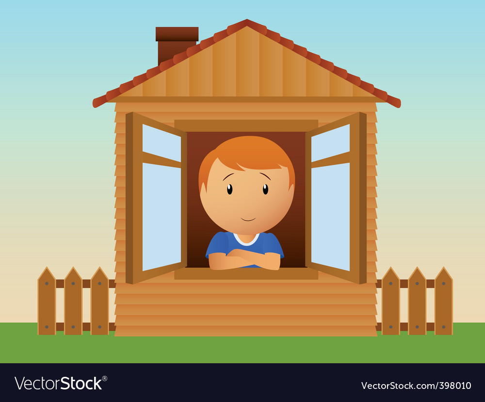 Boy in the wooden house vector | Price: 1 Credit (USD $1)