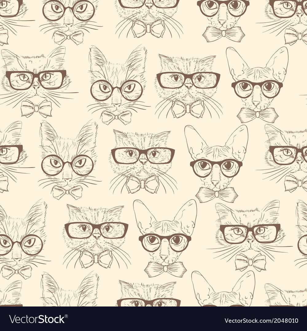Cat hipsters seamless pattern vector | Price: 1 Credit (USD $1)