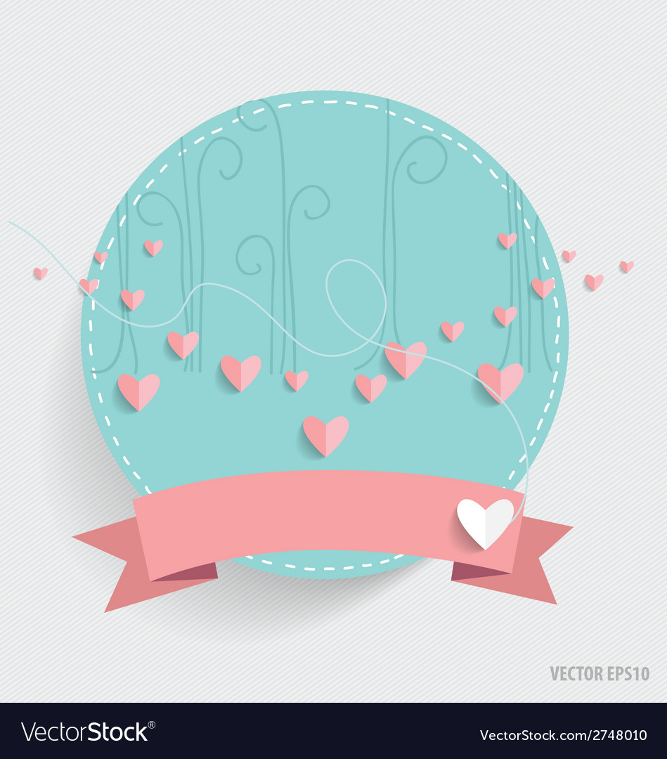Cute card with ribbon and heart vector | Price: 1 Credit (USD $1)