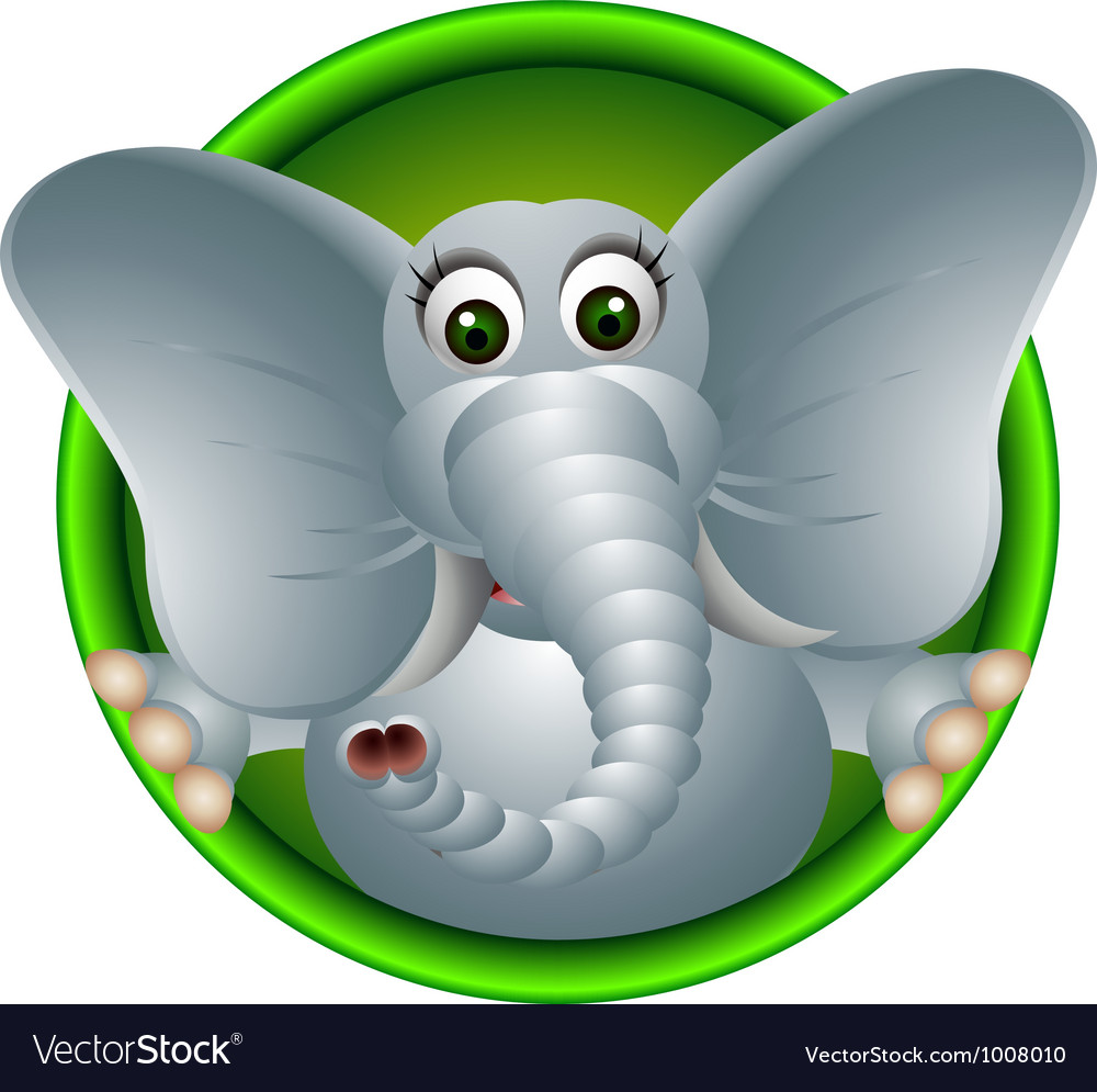 Cute elephant head cartoon vector | Price: 3 Credit (USD $3)