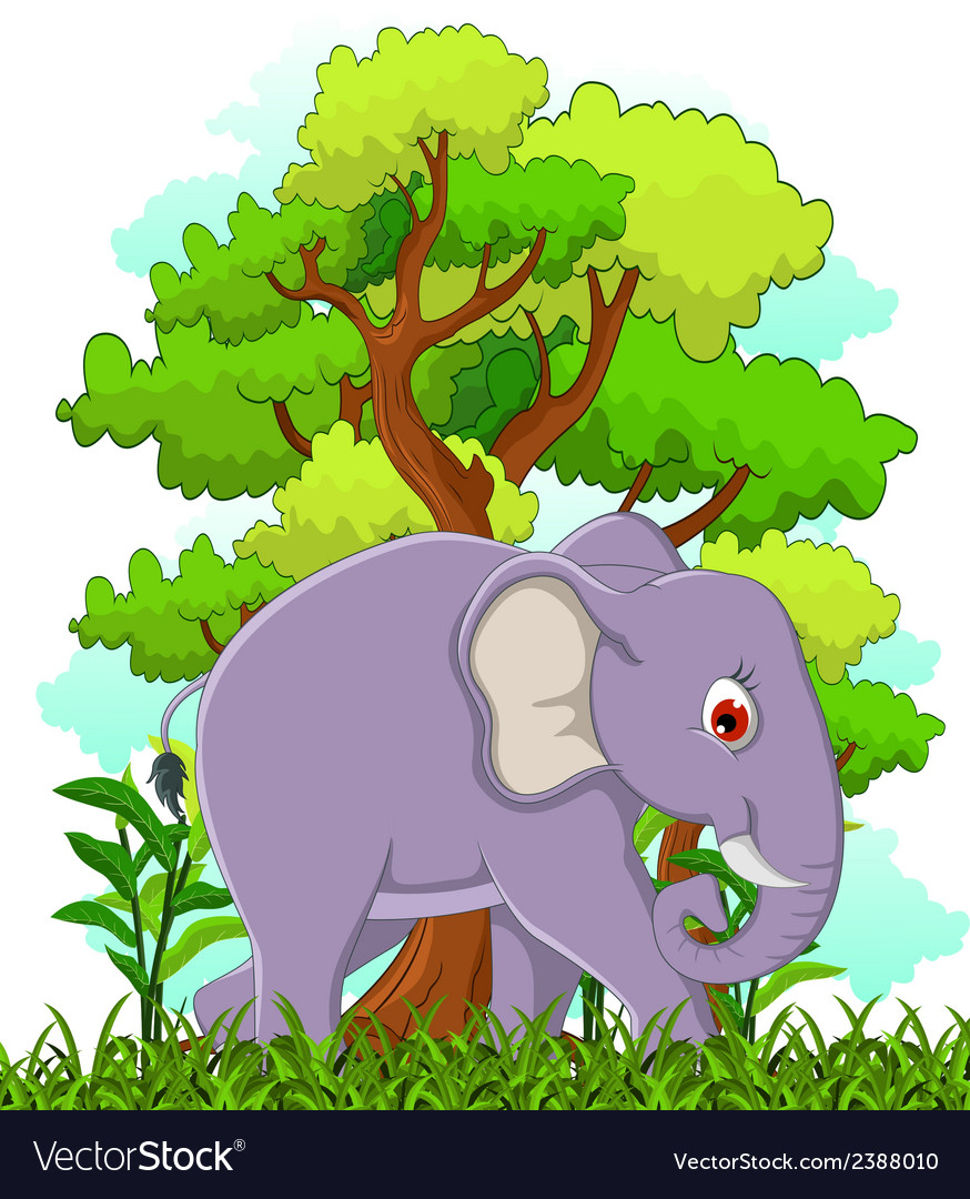 Elephant cartoon with forest background vector | Price: 1 Credit (USD $1)