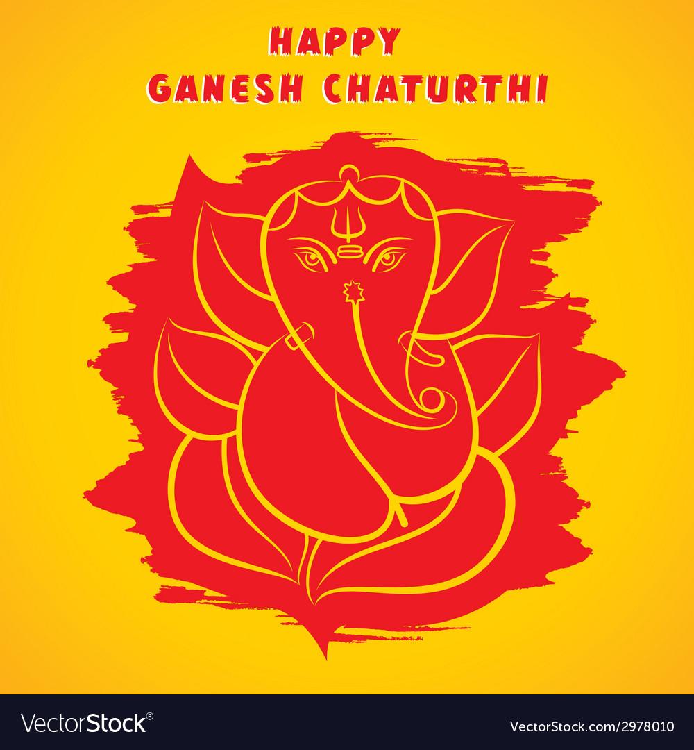 Happy ganesha chaturthi festival greeting vector | Price: 1 Credit (USD $1)