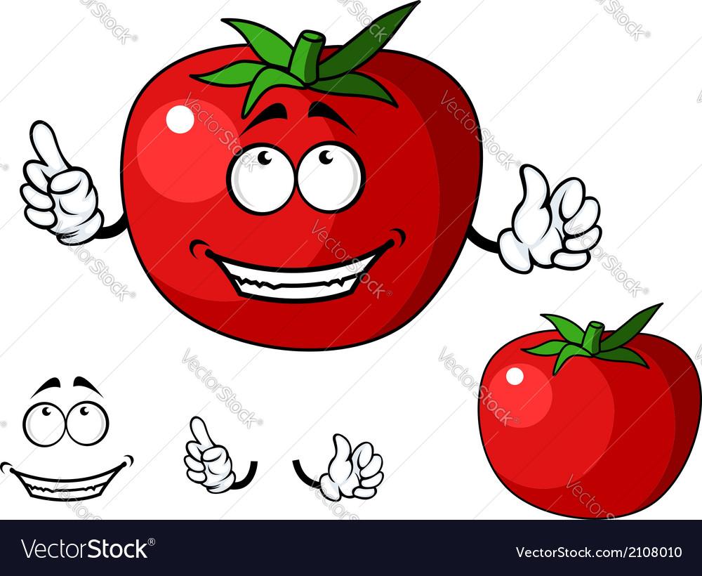 Ripe red happy tomato vegetable vector | Price: 1 Credit (USD $1)