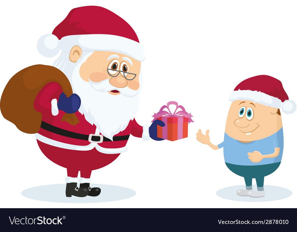 Santa claus and boy vector | Price: 1 Credit (USD $1)