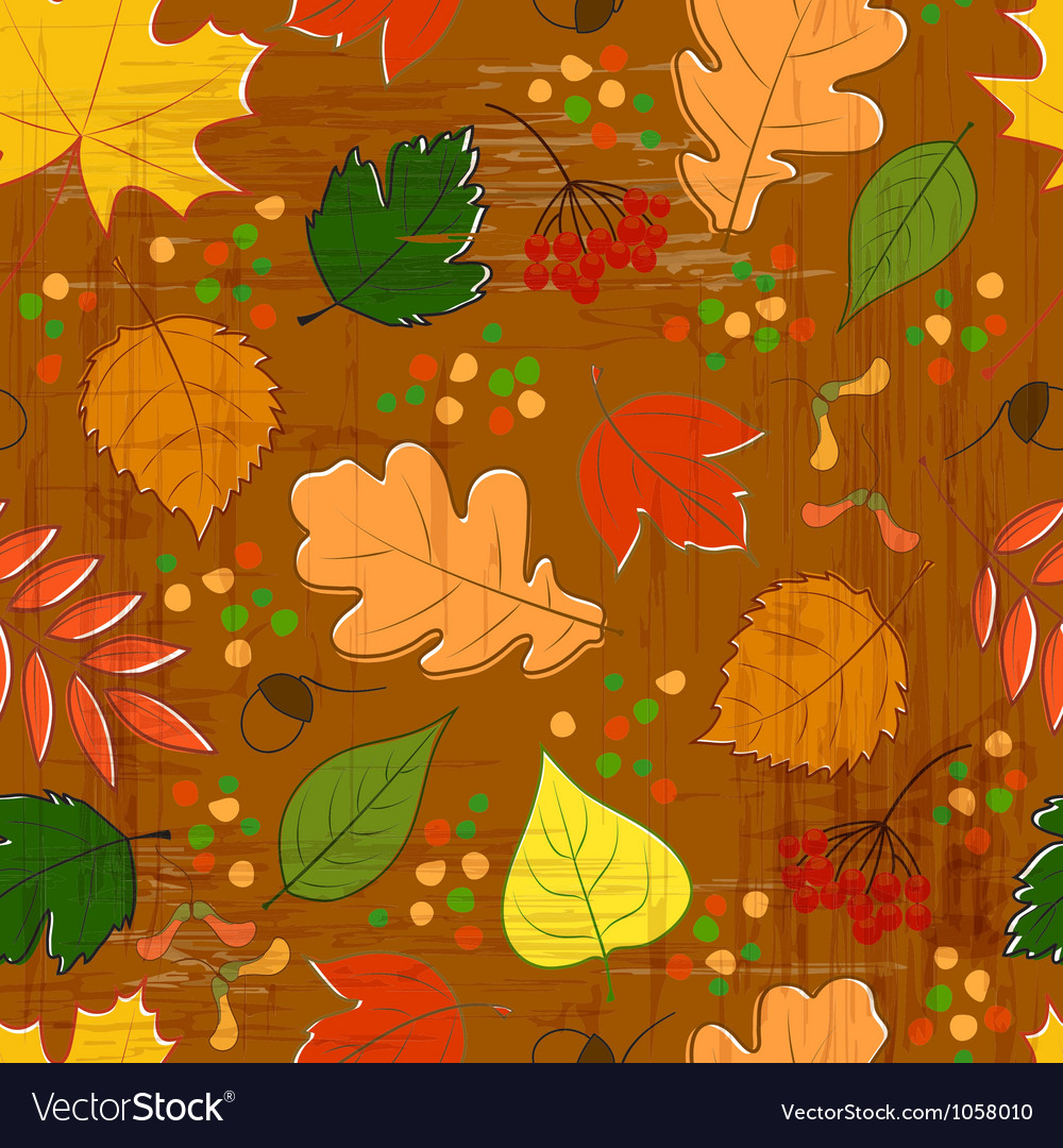 Seamless pattern with colorful autumn leaves vector | Price: 1 Credit (USD $1)