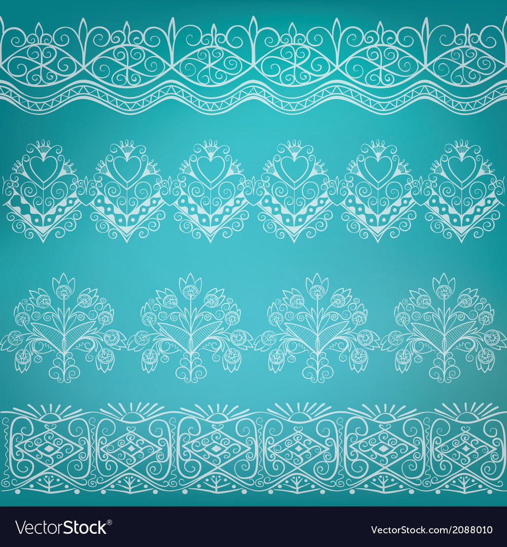 Set of ethnic folk border vector | Price: 1 Credit (USD $1)