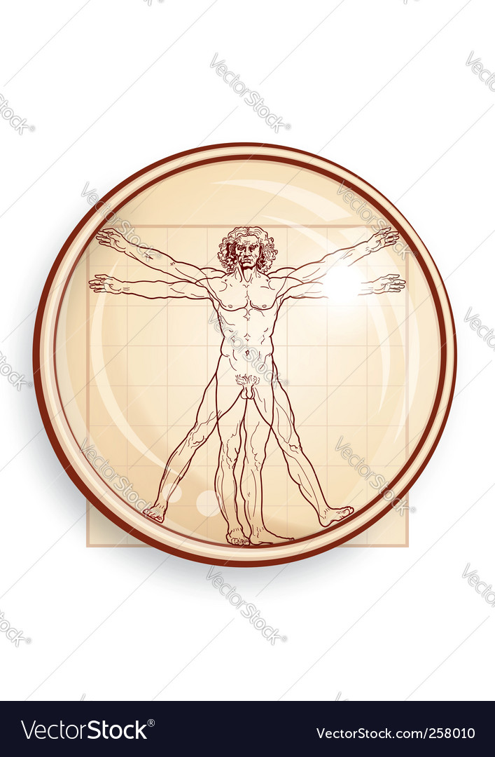 Vitruvian man under microscope vector | Price: 1 Credit (USD $1)