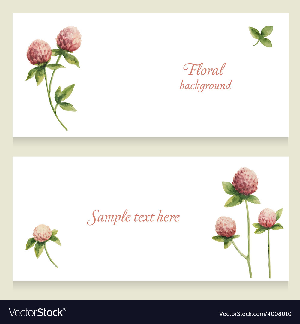Watercolor floral banners painted by hand vector | Price: 1 Credit (USD $1)