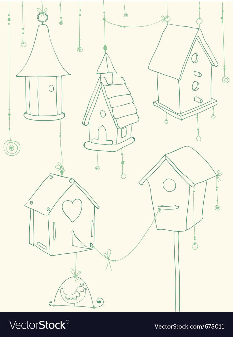 Bird house doodle card vector | Price: 1 Credit (USD $1)