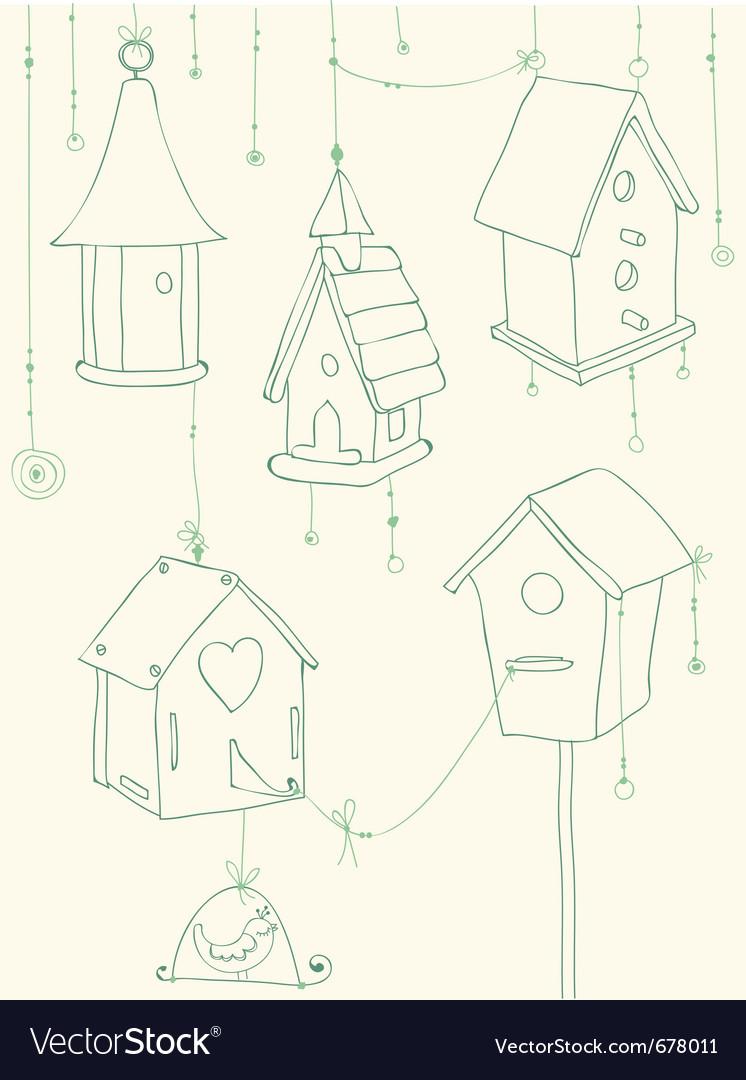Bird house doodle card vector | Price: 1 Credit (USD $1)