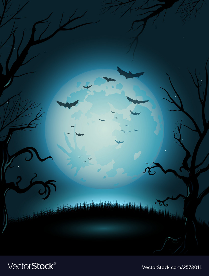 Creepy halloween night poster full moon copy space vector | Price: 1 Credit (USD $1)