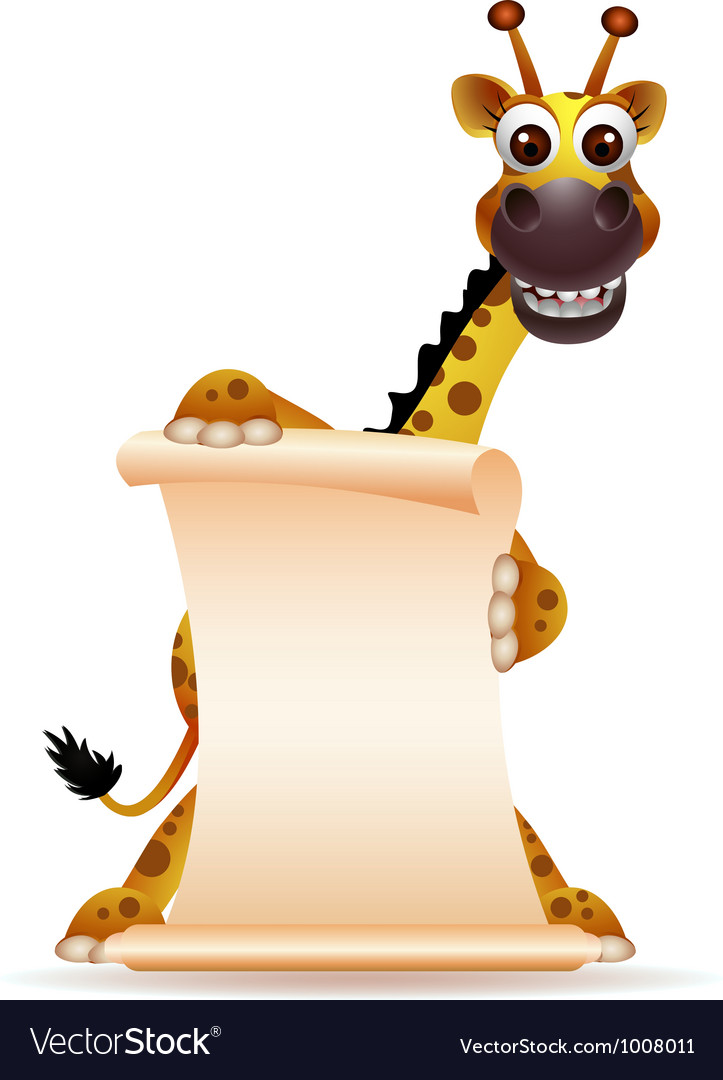Cute giraffe cartoon with blank sign vector | Price: 3 Credit (USD $3)