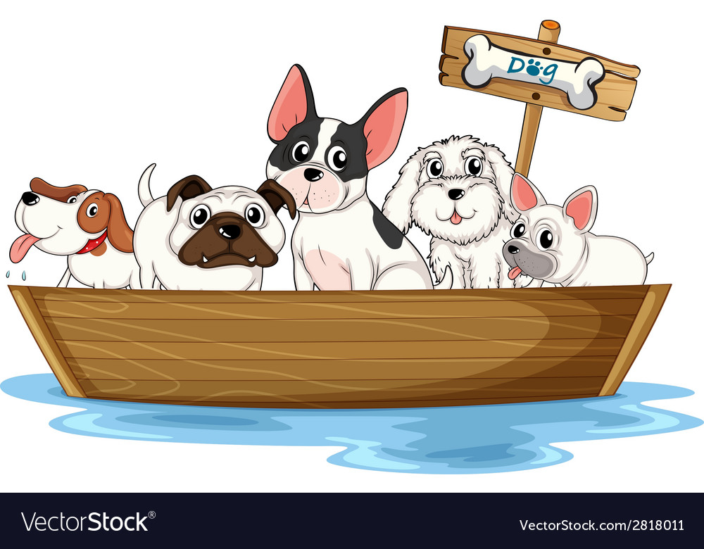 Dogs on boat vector | Price: 3 Credit (USD $3)