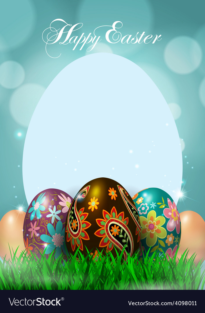 Happy easter greeting card vector | Price: 3 Credit (USD $3)