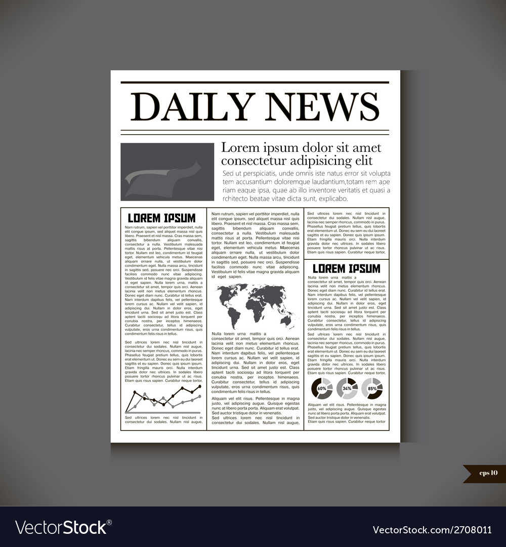The newspaper with a headline daily news vector | Price: 1 Credit (USD $1)