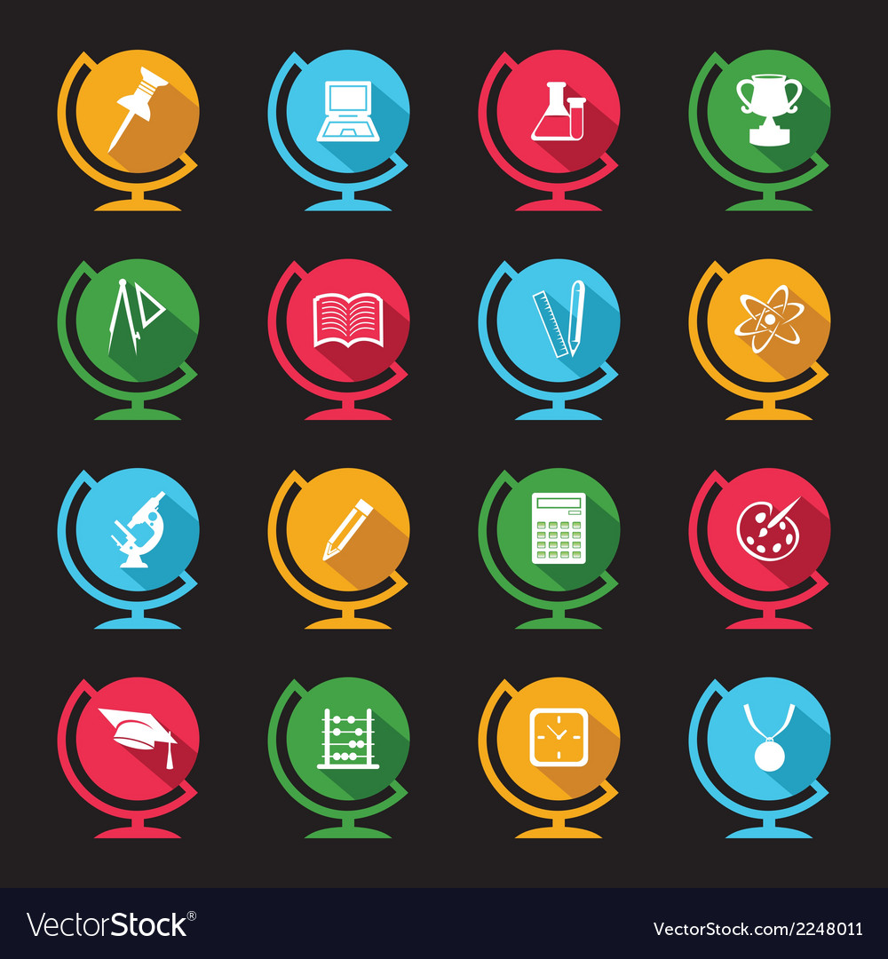 Set of educational icons on globe design vector | Price: 1 Credit (USD $1)