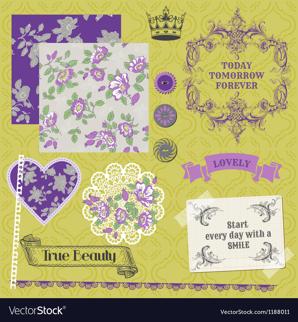 Vintage violet roses vector | Price: 3 Credit (USD $3)