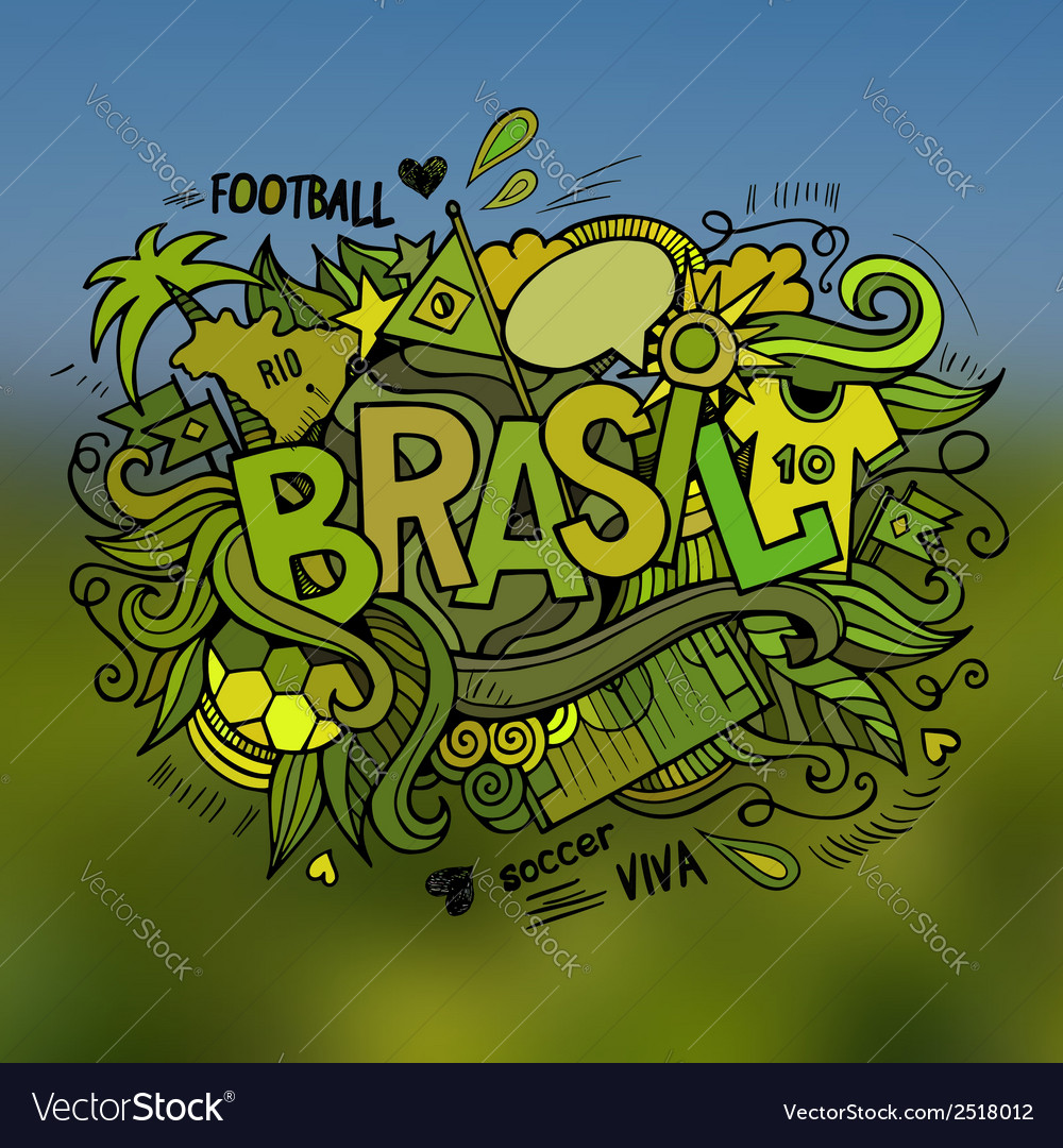 Brasil summer hand lettering and doodles elements vector | Price: 1 Credit (USD $1)