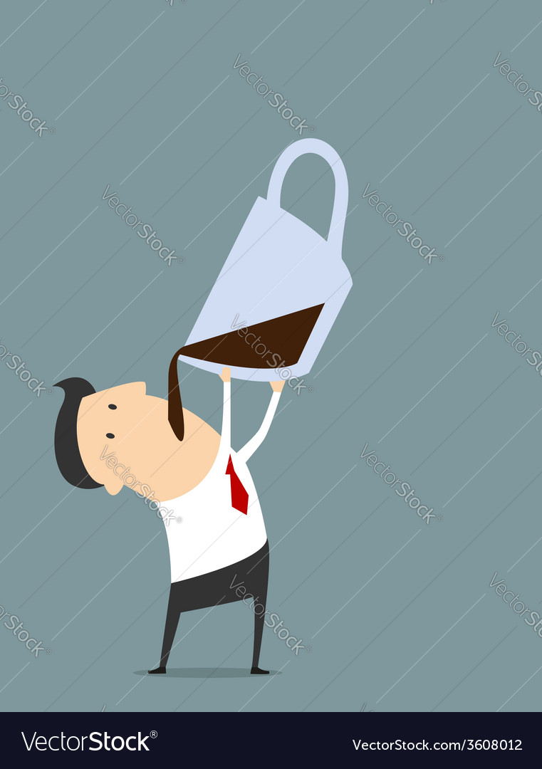 Cartooned businessman with coffee in flat style vector | Price: 1 Credit (USD $1)