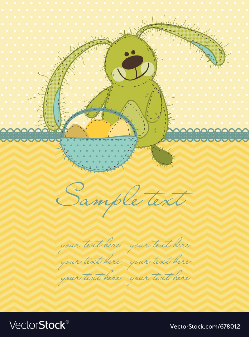 Cute easter bunny card vector | Price: 1 Credit (USD $1)