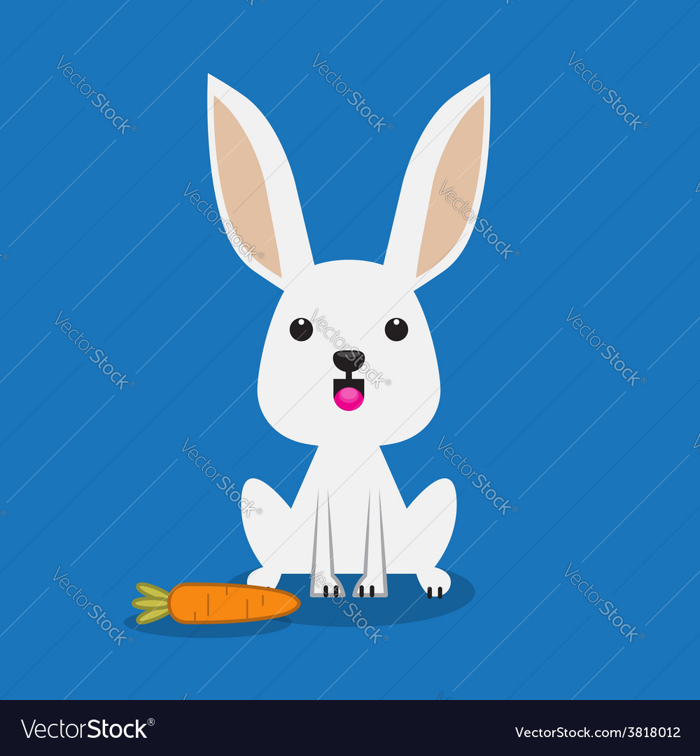 Cute rabbit with carrot vector | Price: 1 Credit (USD $1)