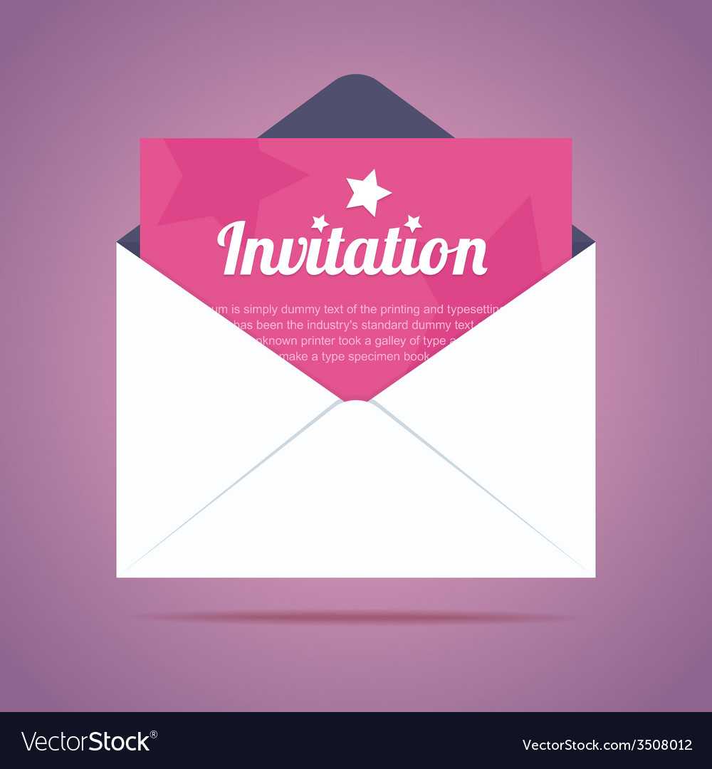 Envelope with invitation card and star shapes vector | Price: 1 Credit (USD $1)