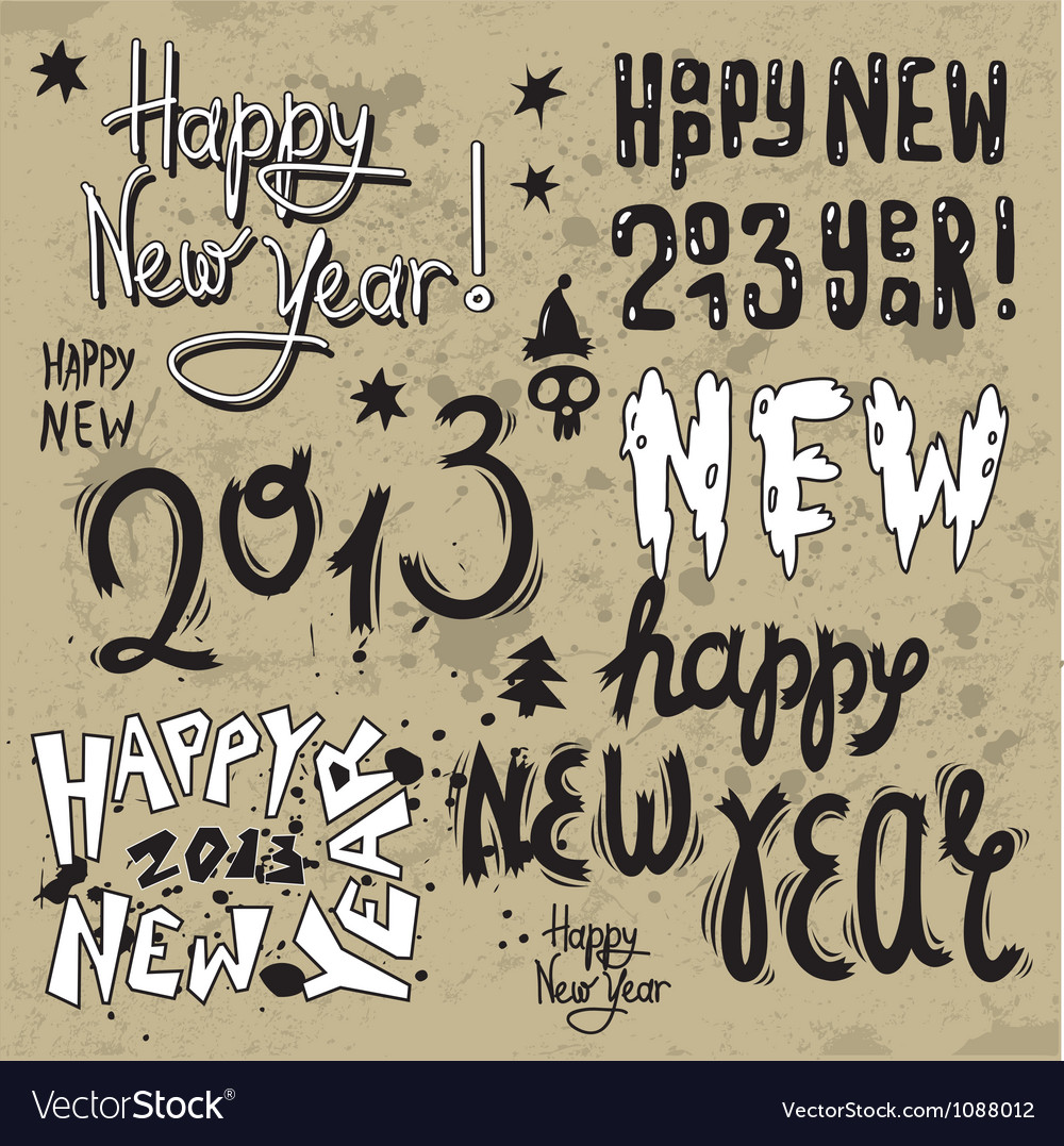 Happy new year 2013 grunge text vector | Price: 1 Credit (USD $1)