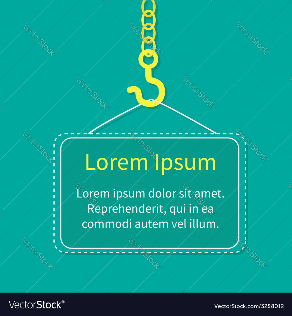 Industrial hook on chain with blank poster board vector | Price: 1 Credit (USD $1)