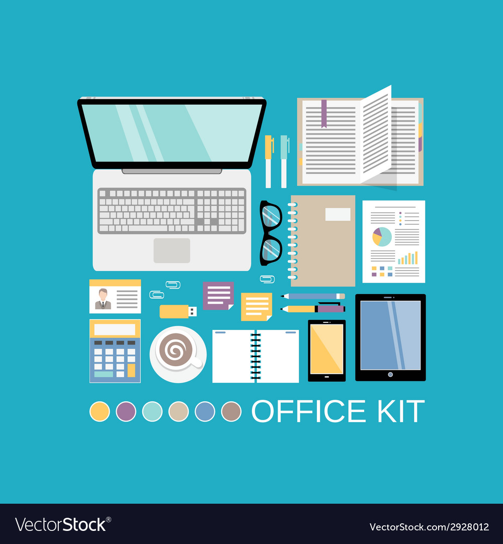 Office kit decorative vector | Price: 1 Credit (USD $1)