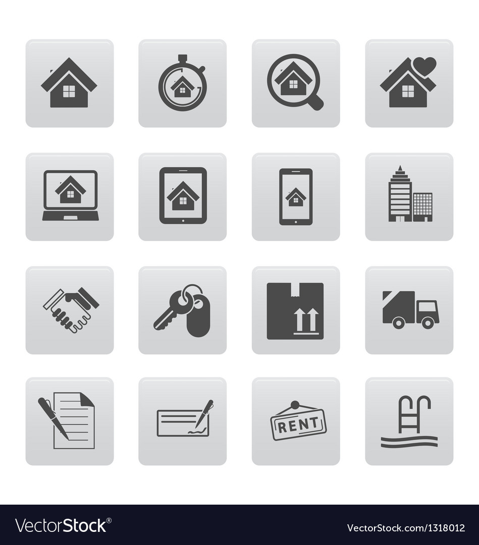 Real estate icons on black squares vector | Price: 1 Credit (USD $1)
