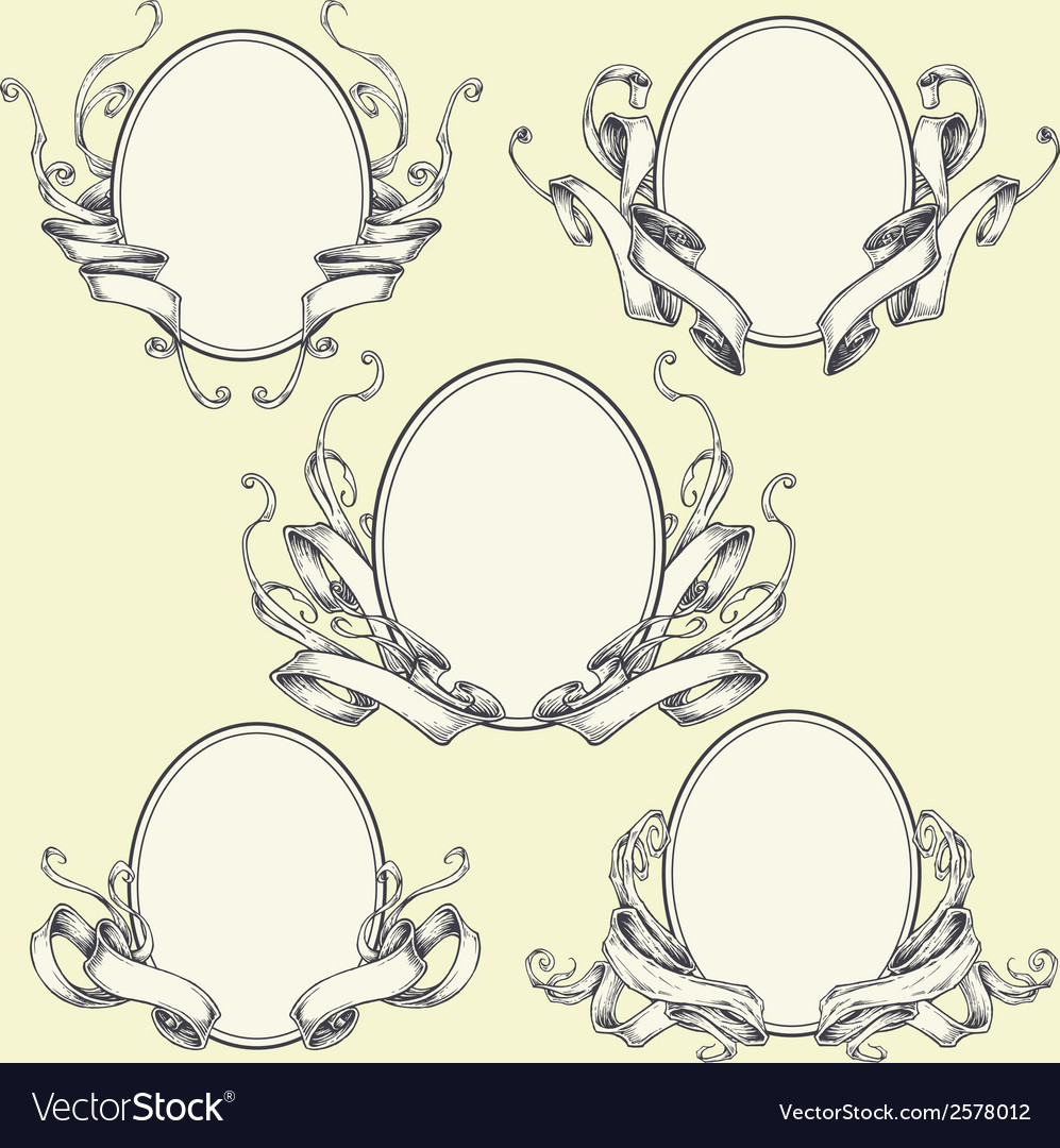 Ribbon frame and border ornaments set 04 vector | Price: 1 Credit (USD $1)