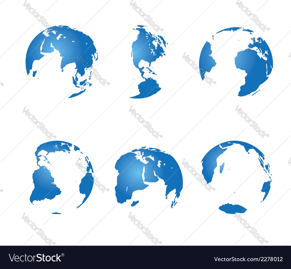 Set - blue continents vector | Price: 1 Credit (USD $1)