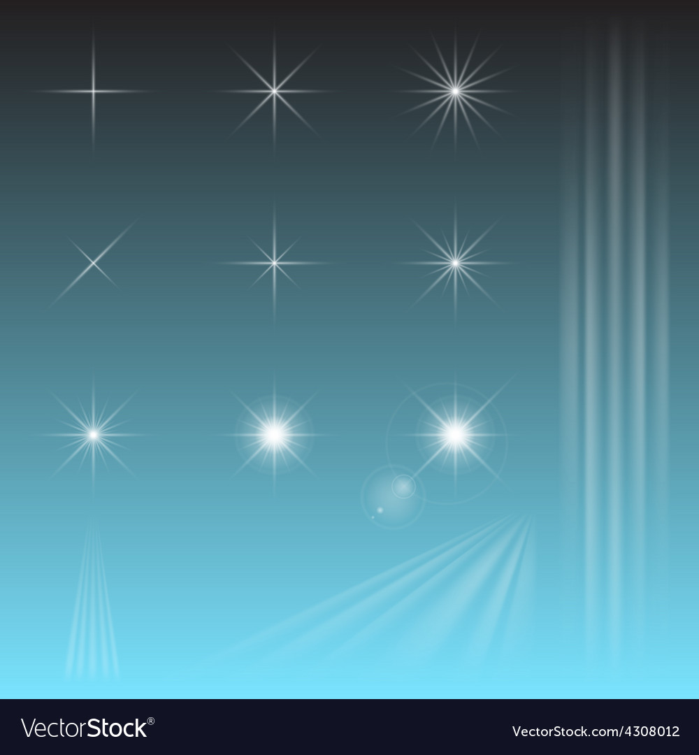 Set sky star sun rays vector | Price: 1 Credit (USD $1)