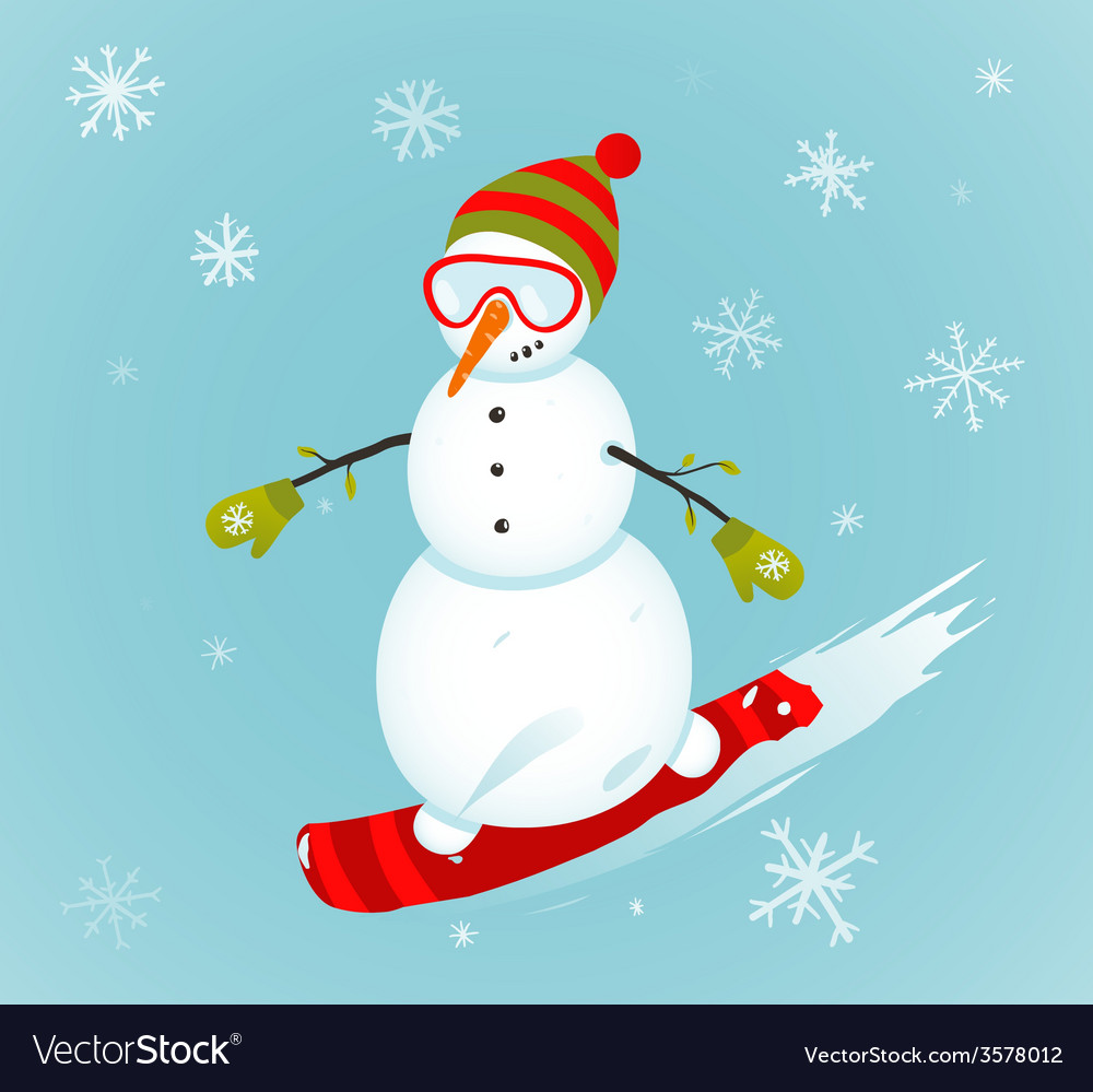 Snowman and snowboard winter sport vector | Price: 1 Credit (USD $1)