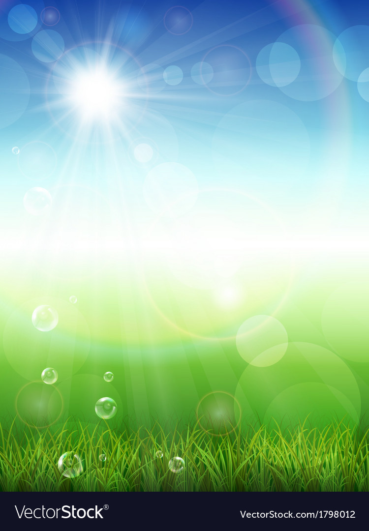 Summer background with green grass vector | Price: 1 Credit (USD $1)