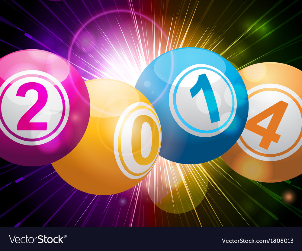 2014 bingo lottery balls on starburst vector | Price: 1 Credit (USD $1)