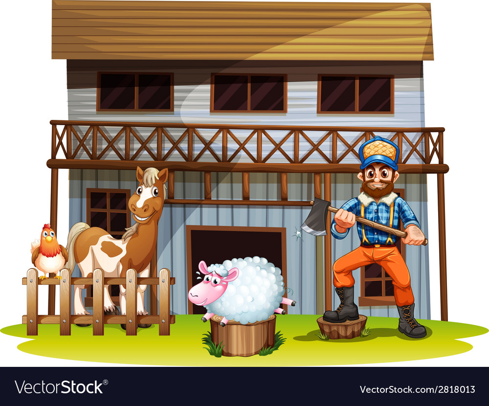 Animals and lumberjack vector | Price: 3 Credit (USD $3)
