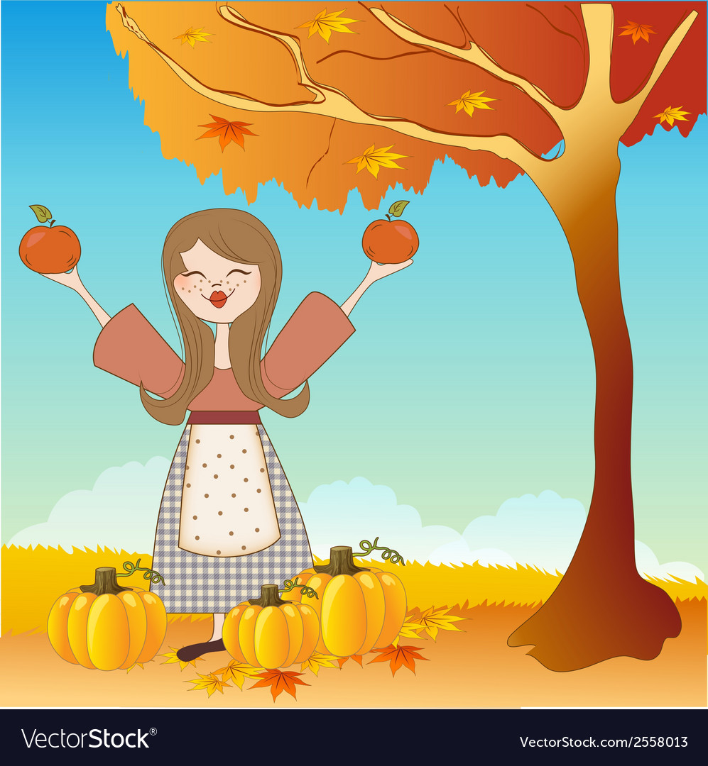 Autumn girl with apples and pumpkins vector | Price: 1 Credit (USD $1)