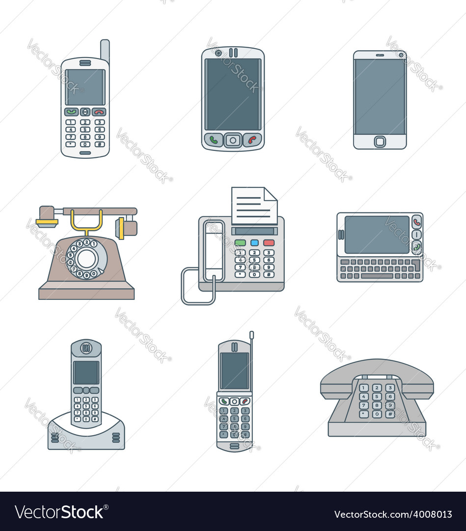 Colored outline various phone devices icons set vector | Price: 1 Credit (USD $1)