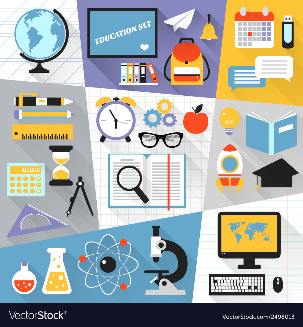 Education flat set vector | Price: 1 Credit (USD $1)