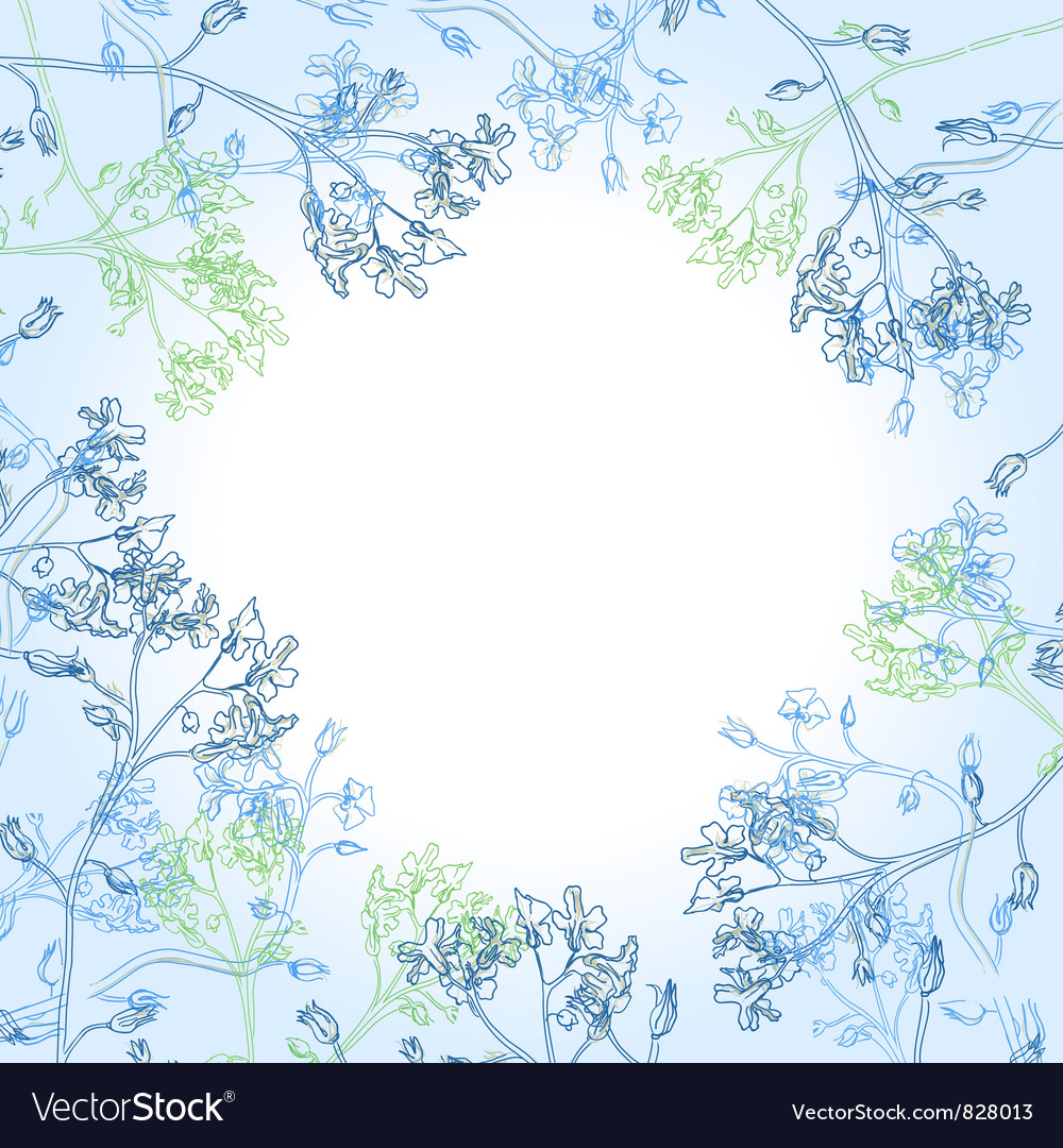 Frame with blue flowers vector | Price: 1 Credit (USD $1)