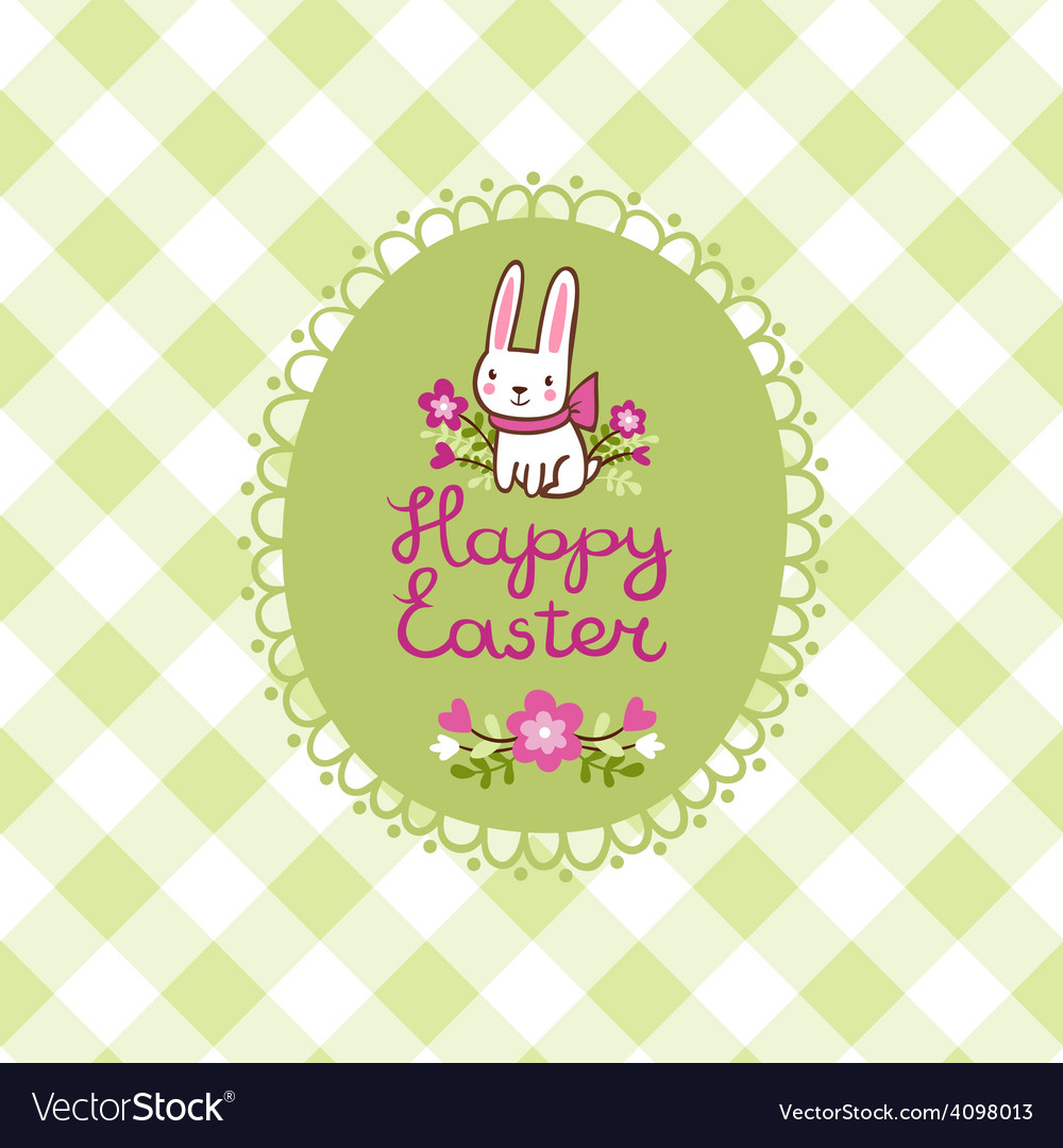 Happy easter card with bunny in vector | Price: 1 Credit (USD $1)