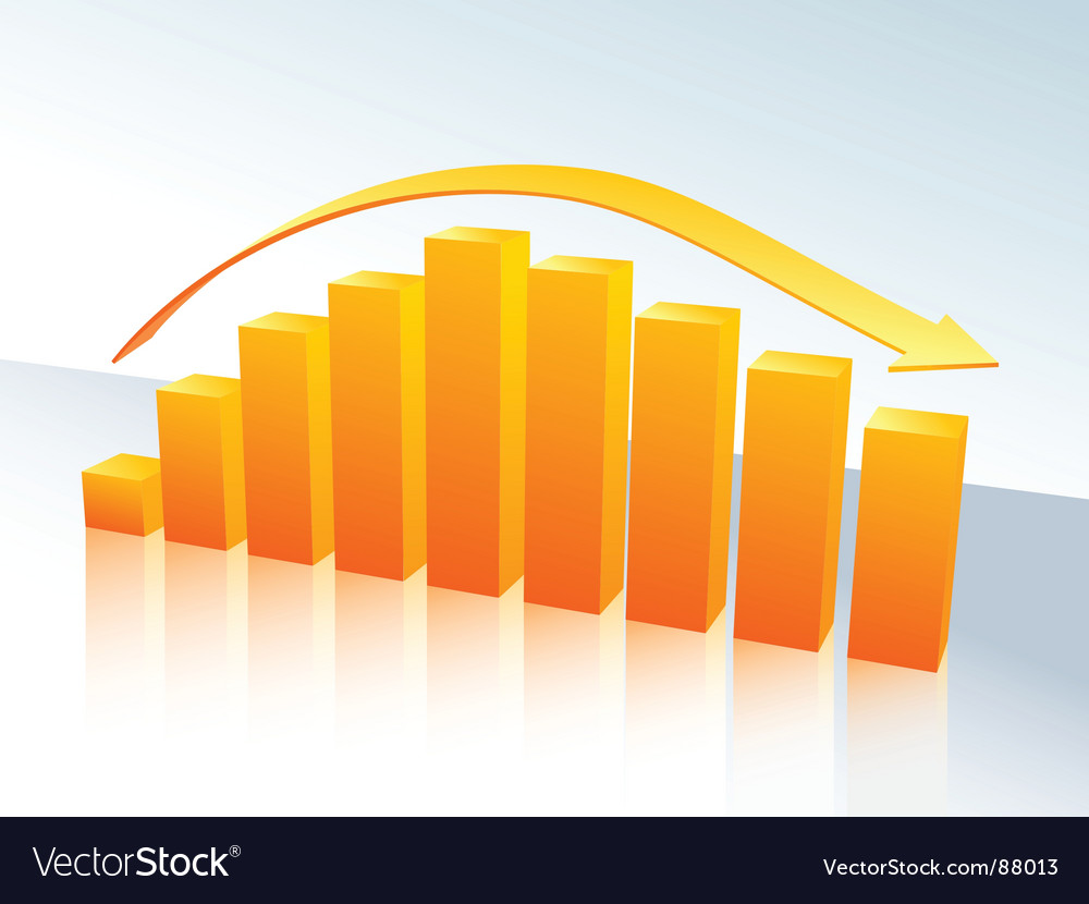Orange bar graph with arrow vector | Price: 1 Credit (USD $1)