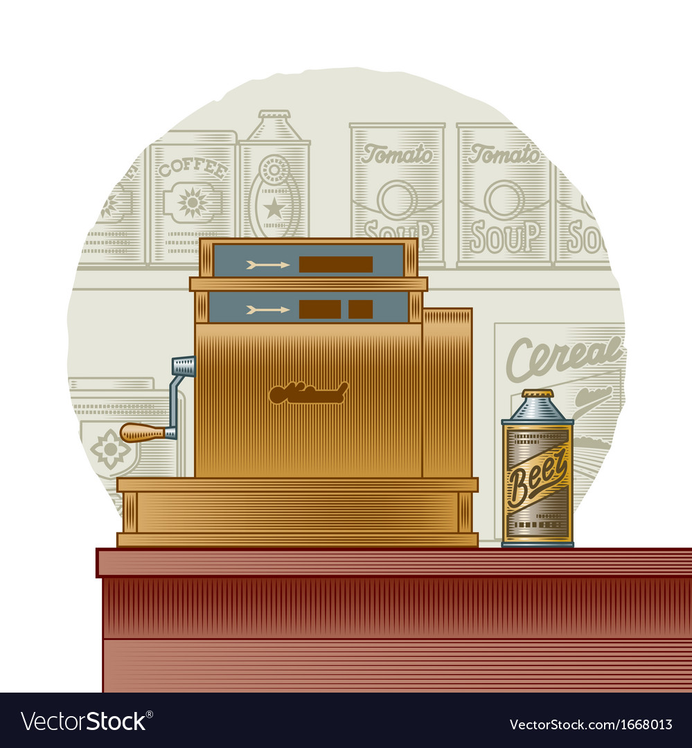 Retro cash register vector | Price: 1 Credit (USD $1)